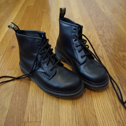 6201100dcc2 Classic 101 smooth black leather 6 eye Dr. Martens. Black 7 - Depop