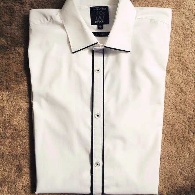 09c27249 @ame266. 5 years ago. Bromsgrove, United Kingdom. Taylor & Wright Men's slim  fit white shirt with black ...