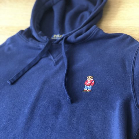 c9ac3a3bb Ralph Lauren polo bear hoodie dark blue Message for Size - Depop
