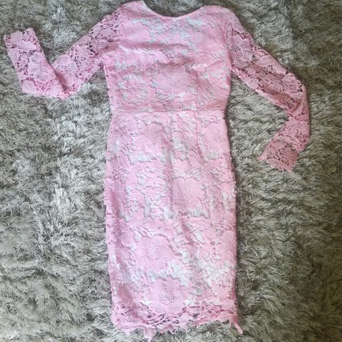 BNWT Missguided pink lace dress with low low back. Perfect a - Depop ad97b5236