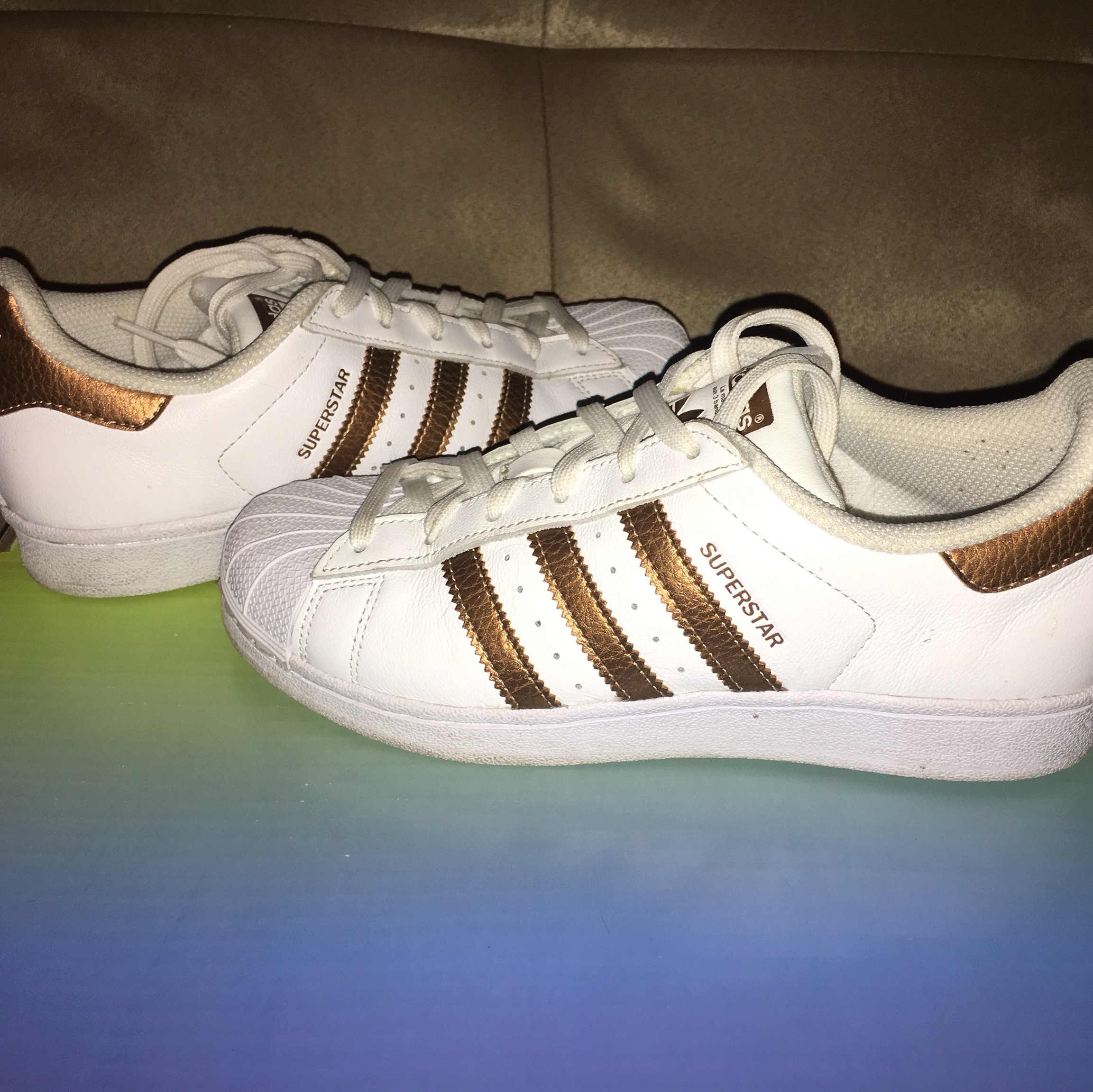 purchase cheap 9478e 208de Adidas Superstar Bronze color. Lightly worn once.... - Depop