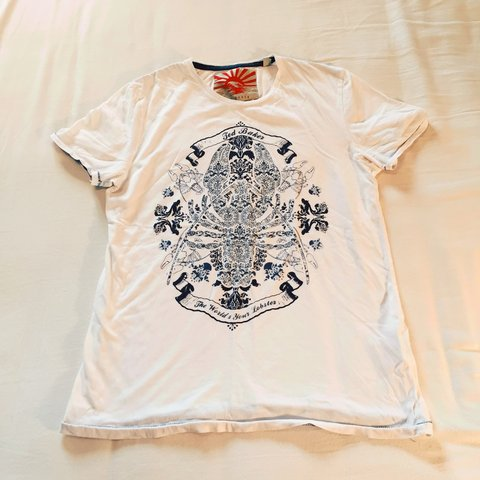 2f8176fff216 Ted Baker white printed lobster t-shirt size M. Price and - Depop