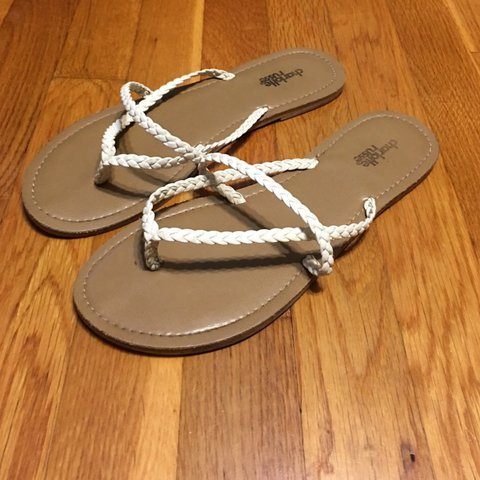 143a7a2ce0ce Charlotte Russe White double braided thong sandal      13 - Depop
