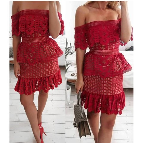 fdad92456610 @ppawelczyk. 2 months ago. Aberdeen, Aberdeen City, United Kingdom. Self  portrait style dress. Red lace ...