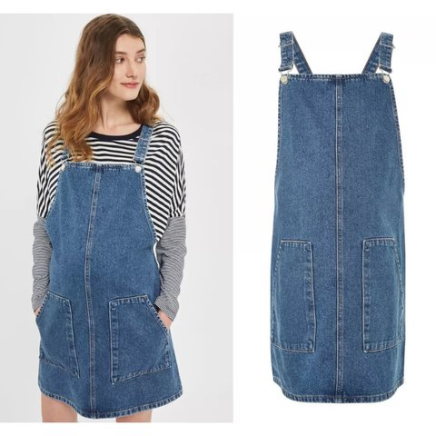c8efdc033c57d @sblades. last year. United Kingdom. Brand new with tags Topshop blue denim  maternity pinafore dungaree dress