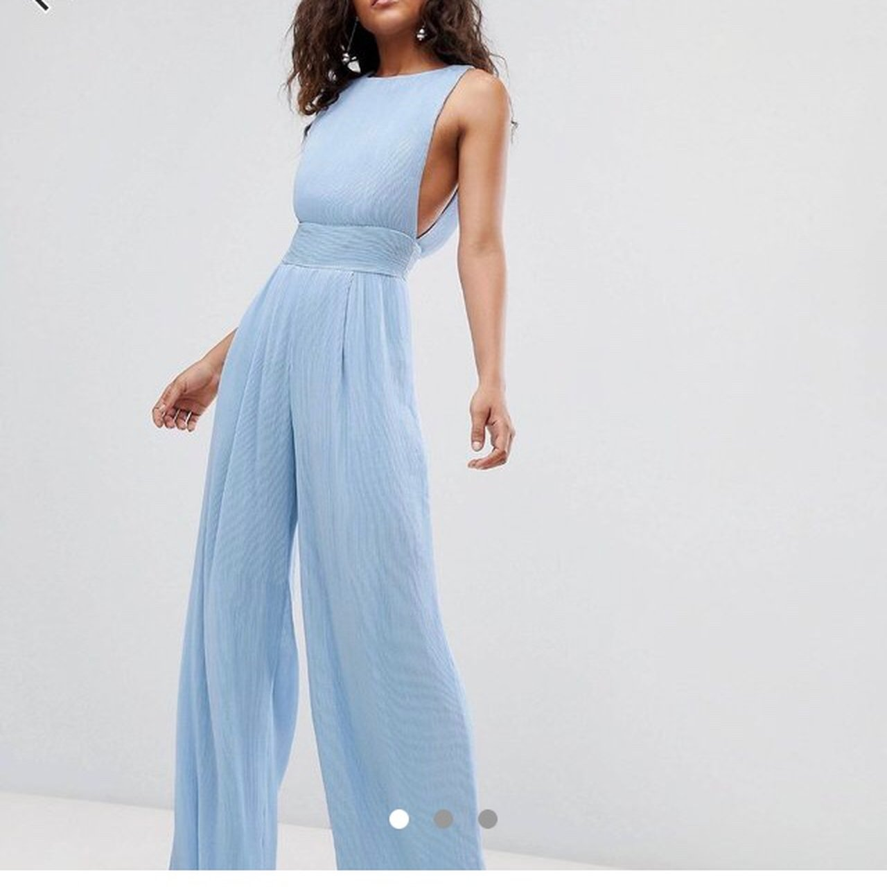 65c0d98ae05 Pale blue Missguided Jumpsuit Wide leg Plunge at sides   - Depop