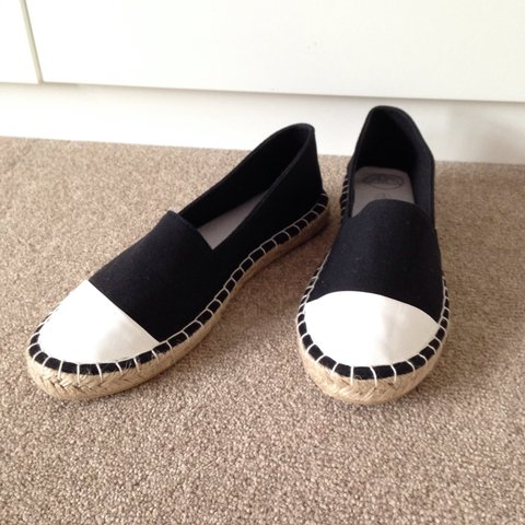 62a4c0d41 Misguided espadrilles - black with white tips. Very similar - Depop