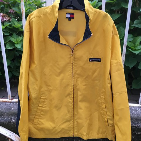 9cc18b397 Vintage 90s Tommy Hilfiger yellow and navy racing - Depop