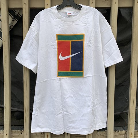 5cee9d42 @rootsbk. in 3 hours. New York, United States. Vintage Nike Tennis Court Logo  T-Shirt White