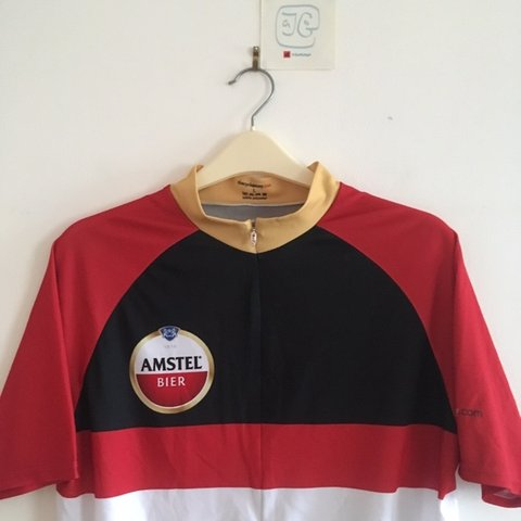 As new Red black gold Amstel beer Cycling jersey Men s L 3 - Depop 86c48b9ea