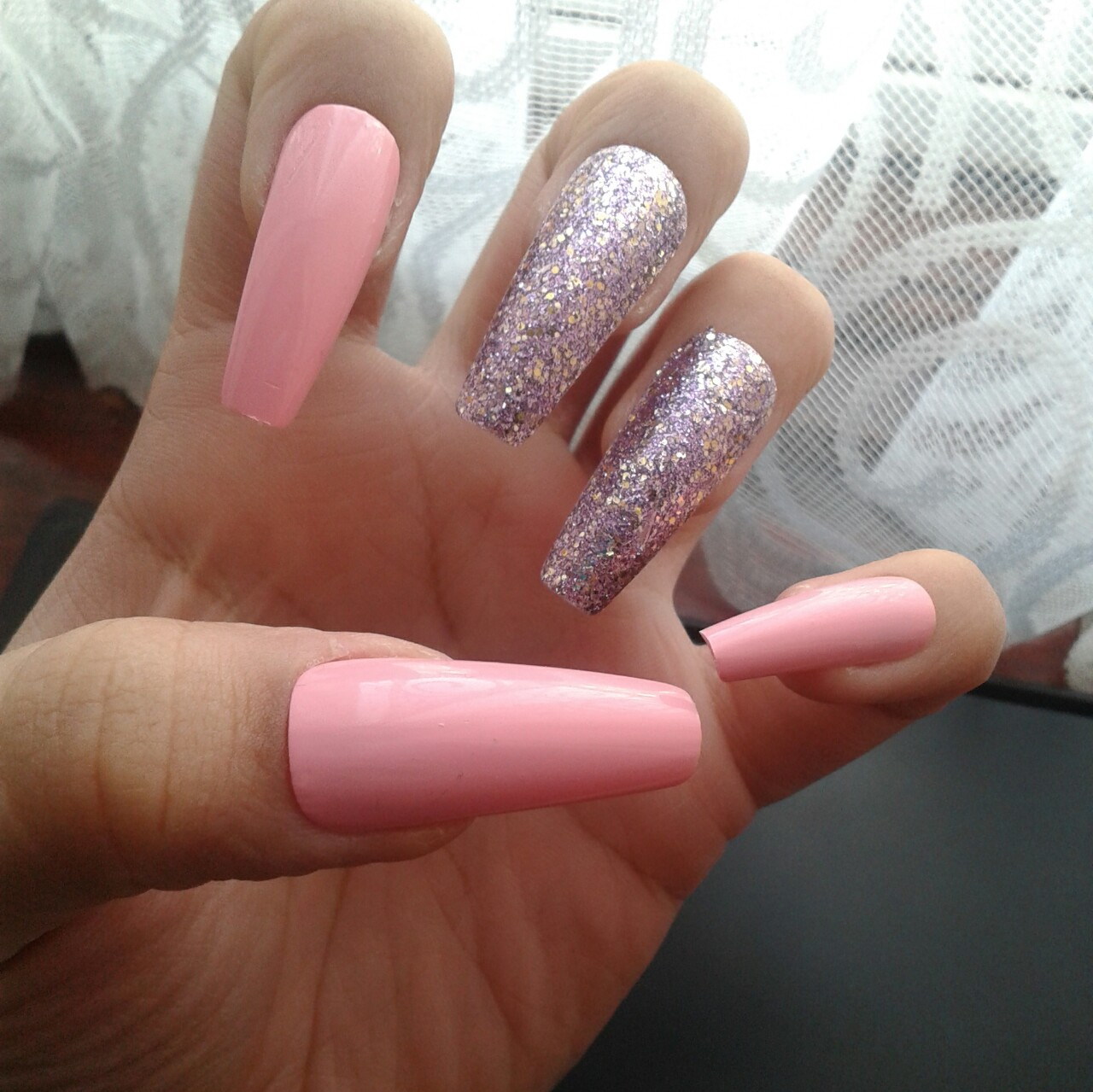 Pink Purple Nails Extra Long Length Coffin Depop