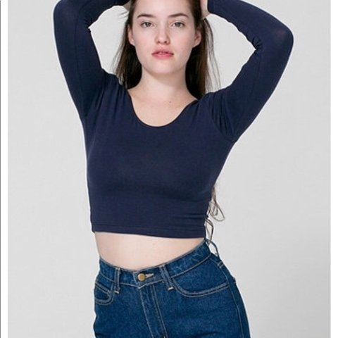 74e3b18a16f @zsottile. 4 months ago. New York, United States. navy long sleeve scoop  neck crop top ...