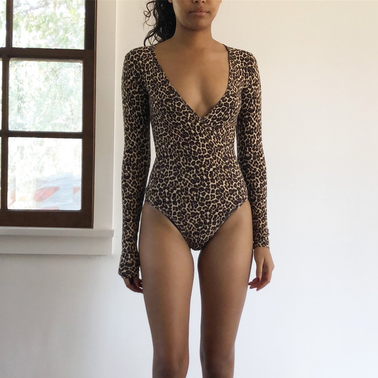 4634dbaafa american apparel deep V wrap bodysuit + purchased before my - Depop
