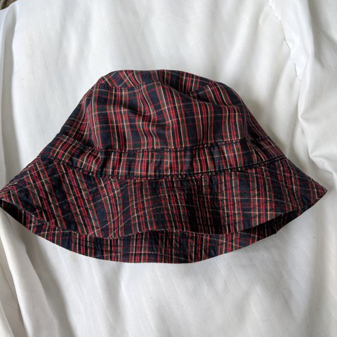 9e041e7f tartan check red and navy bucket hat similar to JW Andersen - Depop
