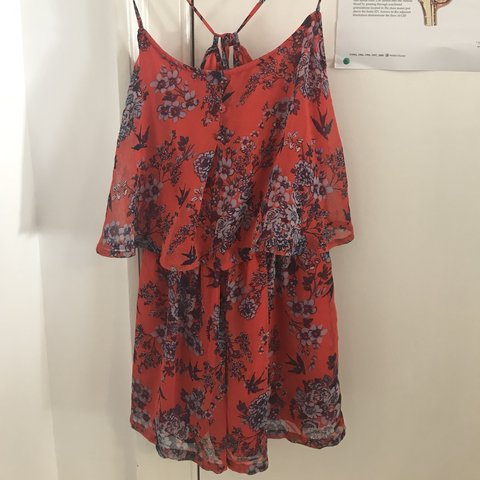 fddff1a7e5 Includes p p Red floral strappy playsuit