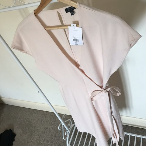 c27f347ce1a TOPSHOP Women s Pink Emily Asymmetrical Wrap Dress pale with - Depop