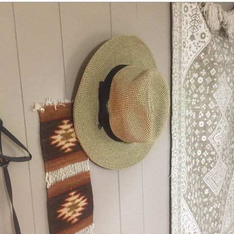 bfec669ff9aae Nine West boater straw hat with black ribbon around it. In - Depop