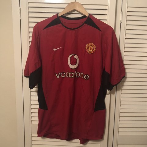 242cff6f7aa Man United Vintage Football Shirt 2002- 2004 Home Red - Size - Depop