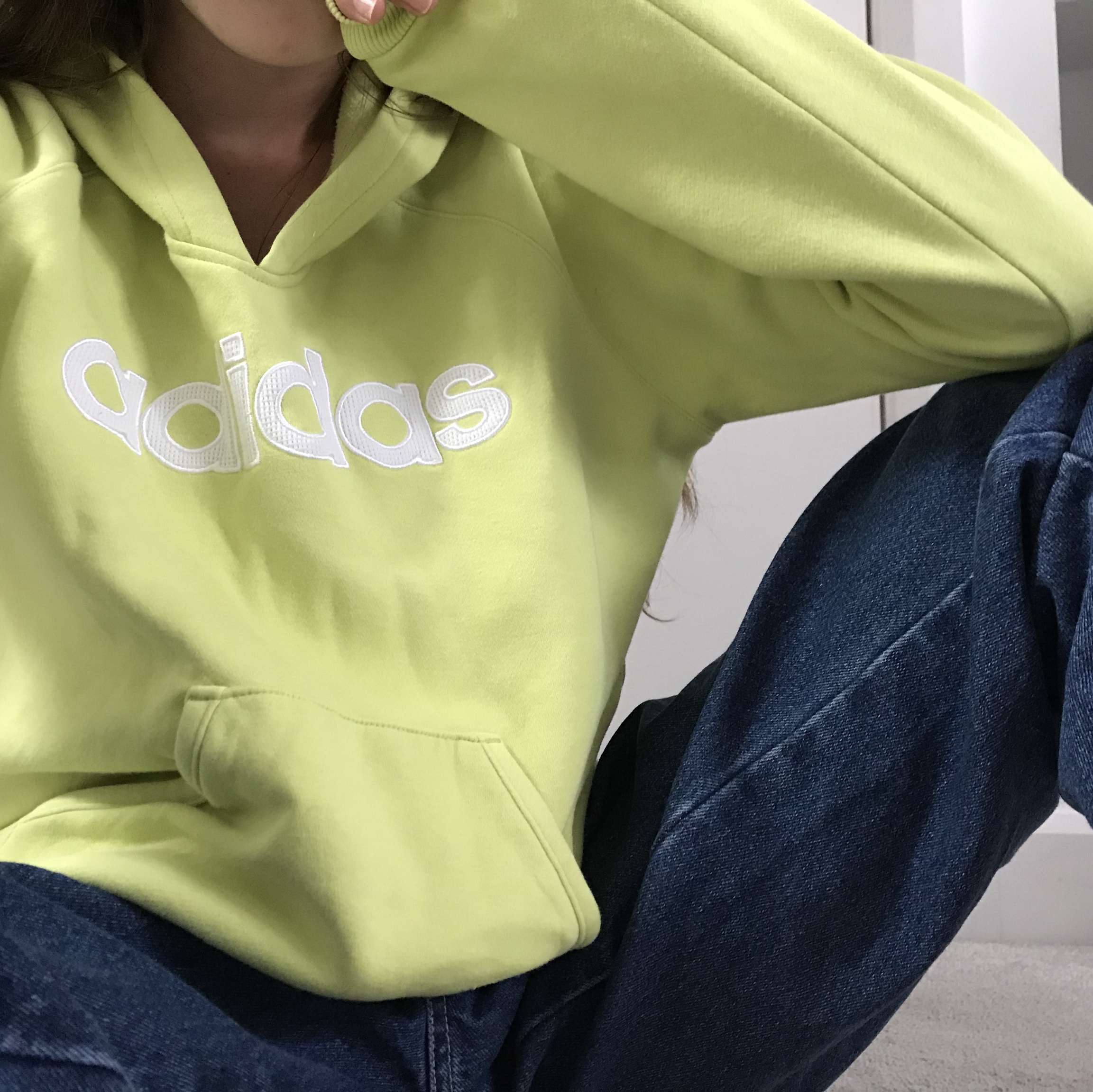 Vintage lime green Adidas similar to Nike jumper Depop
