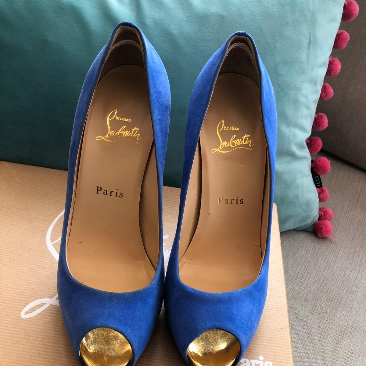 Beautiful louboutins Royal blue suede with gold Depop