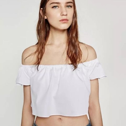 3bf4d863616 @lemarkwell. 9 days ago. London, United Kingdom. ZARA COTTON WHITE OFF THE SHOULDER  CROP BARDOT TOP IN SHIRT POPLIN