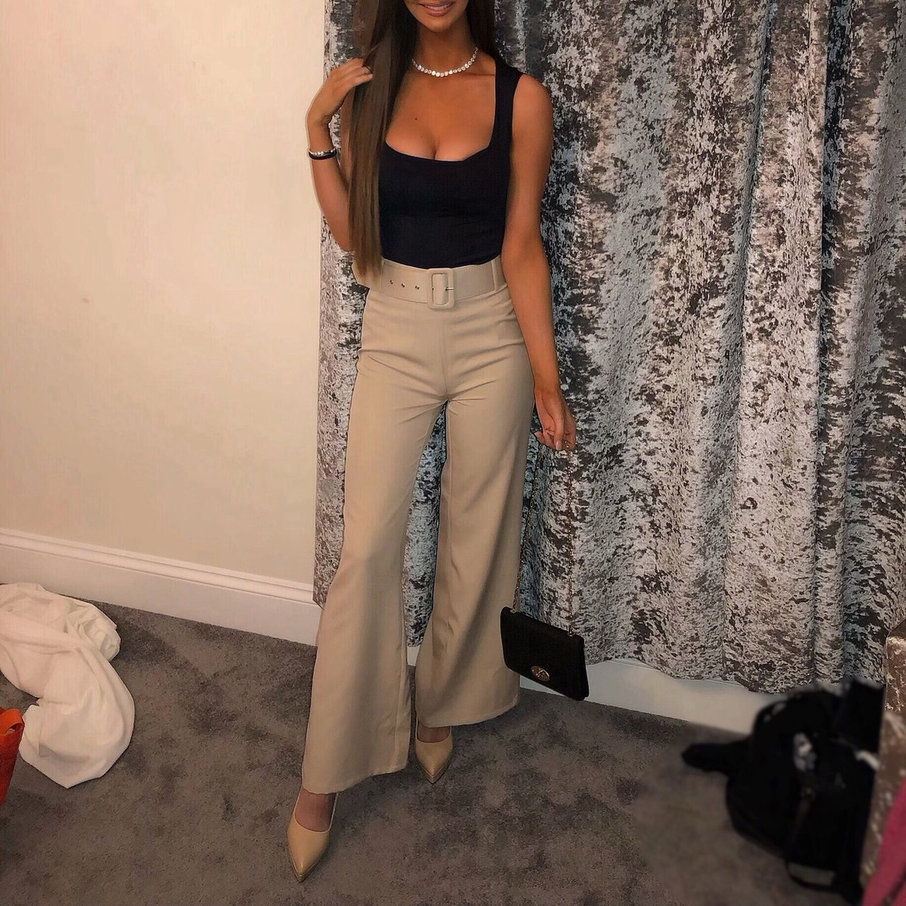 4bb282e832d Selling Cream Belted Flared Trousers