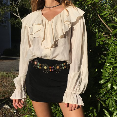 c52d75bfc79829 Vintage Silk Ruffle Blouse 🌾 Pirate