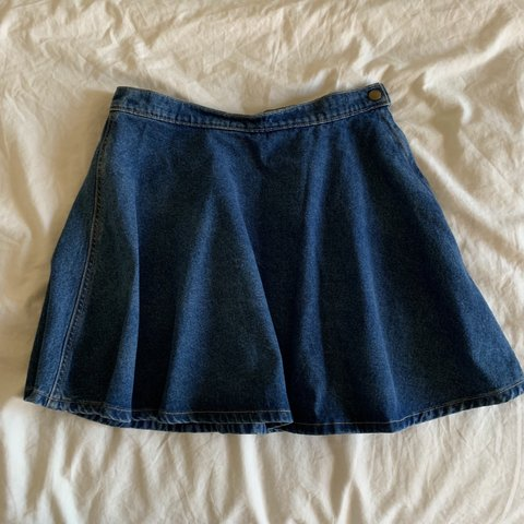 aeeac4f36 american apparel dark wash denim circle skirt! perf just a - Depop