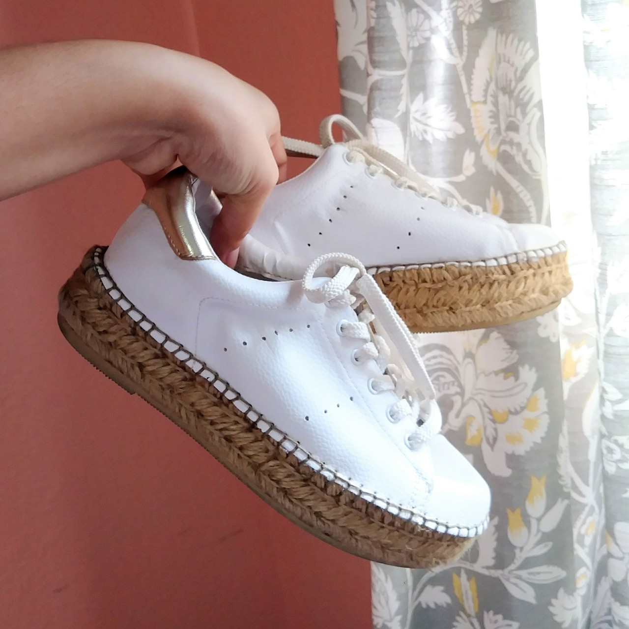 Gorgeous white platform sneakers with