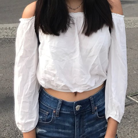2f54201e0f7287 white off the shoulder top from brandy melville (maura top). - Depop