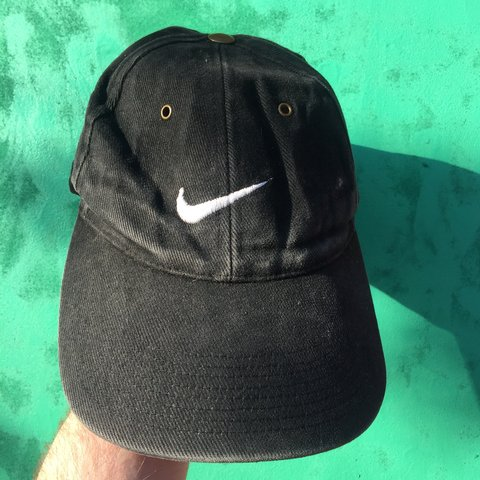 7d724b4e Vintage Nike Cap. Black with logo on the front and side. - - Depop