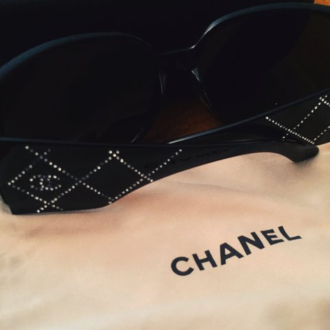 69794d73dc519 Authentic Chanel 5080-B Quilted Swarovski Sunglasses in are - Depop