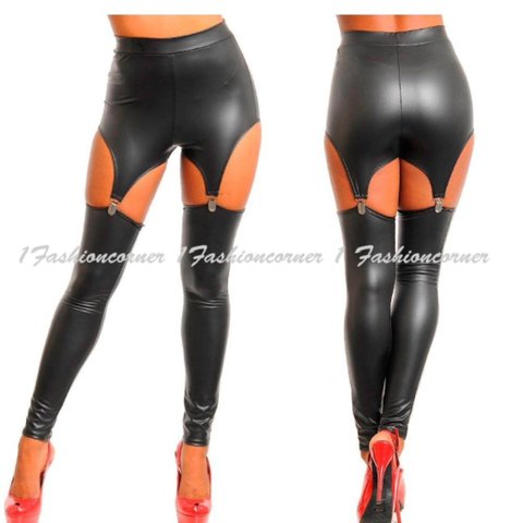 f7f6ff9e257 Leather pants leggings that have a garter belt design. They - Depop