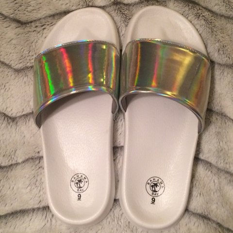 c1d9a995a Holographic slides. These are super cute slide sandals with - Depop