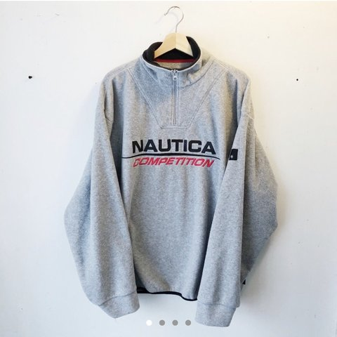 e55c2ef797e5bb Nautica Competition Fleece Size XL Vintage Grey Quarter to - Depop