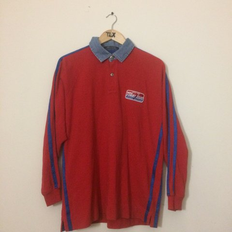 573a20e6 @tlx. 6 months ago. Newcastle Upon Tyne, United Kingdom. Vintage Tommy  Jeans long sleeve polo. Embroidered logo ...