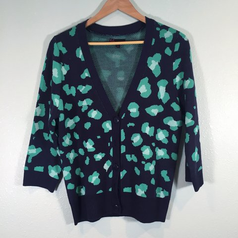 Chunky Leopard Cardigan Sweater ✨ Navy blue and teal leopard ...
