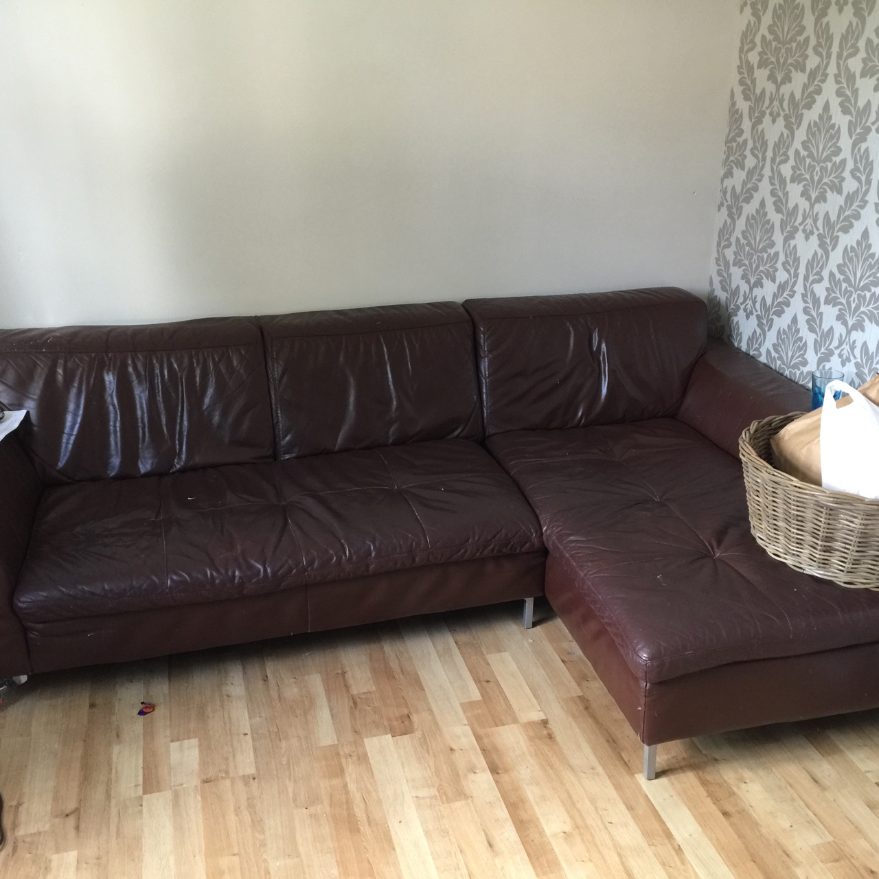 Brown leather corner sofa, comes in 2 parts, cat... - Depop