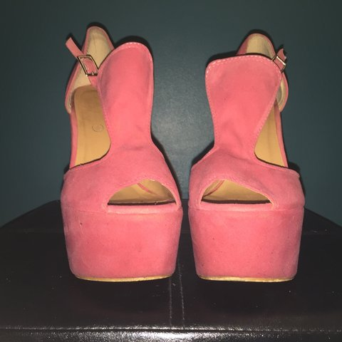 33698882d3f Salmon pink suede high heel wedges! Absolutely love them but - Depop