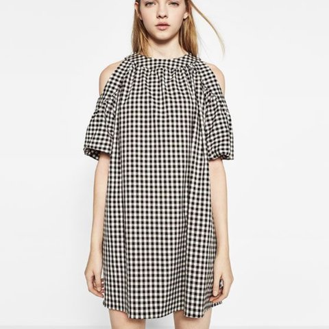 d81f1aed1 Zara black and white gingham cold shoulder dress with bow M - Depop