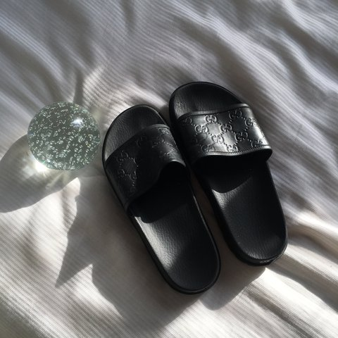 f8301d9daef4 Black Authentic GUCCI leather slides. In a women s size 8 I - Depop