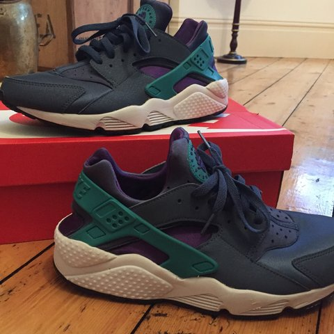 6bf5a99ee6 Purple and green Nike huaraches with box. Bought for £90 in - Depop