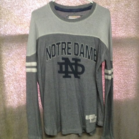 Mitchell And Ness Notre Dame Long Sleeve Thermal Jersey Depop