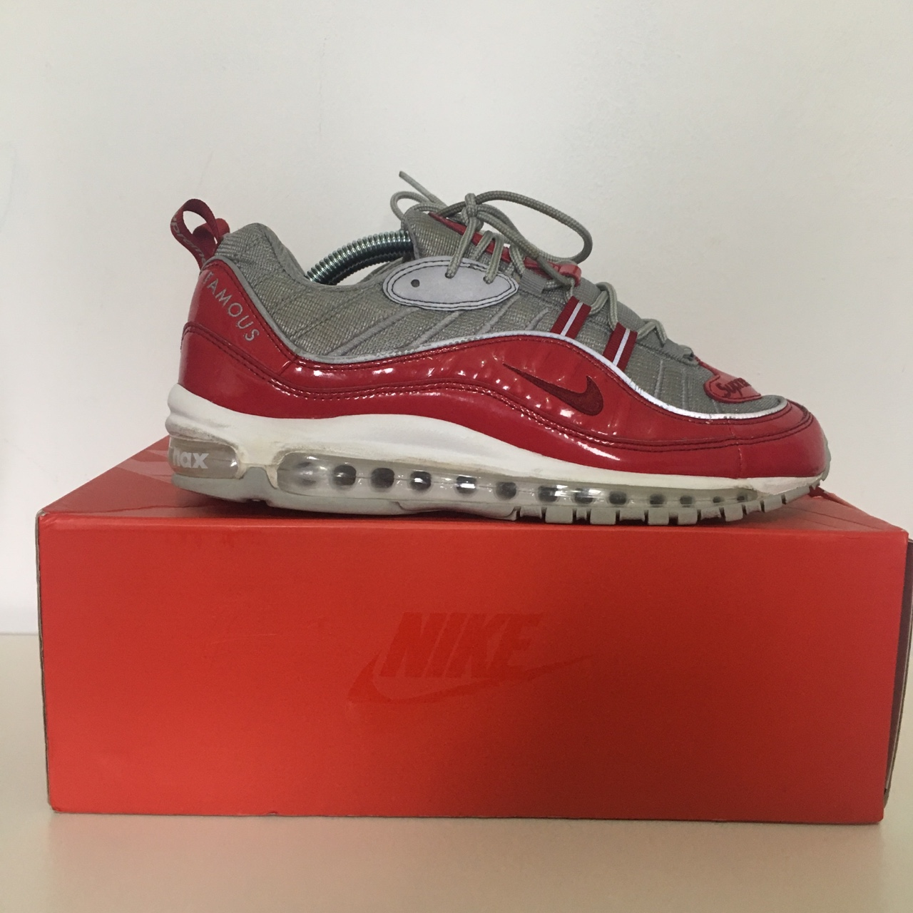 watch 56de5 7c93a Supreme air max 98s, red. UK8. 8/10 condition. OG box - Depop