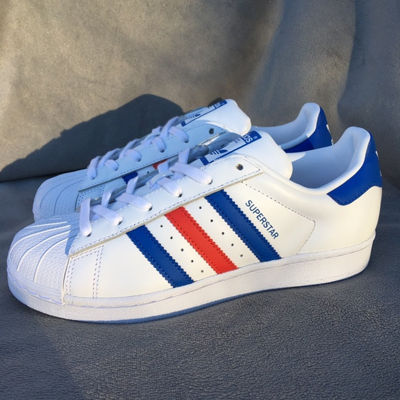 cheap for discount b9c52 c65cf hdizzyh. 4 months ago. Newtown, United States. New Adidas Superstar Shell  toe sneakers. White with red and blue ...
