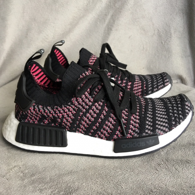 low priced be276 ad96f NWT Adidas NMD R1 STLT . Solar pink /black knit... - Depop
