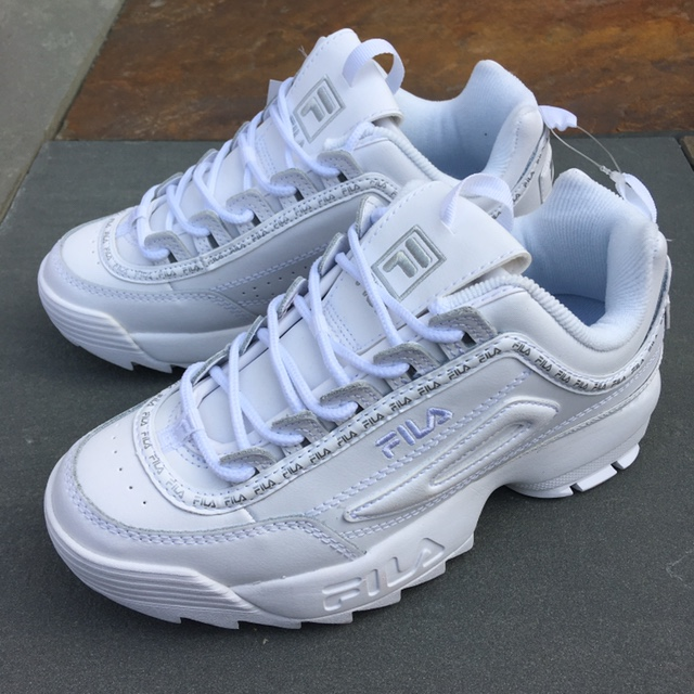 Fila Disruptor II premium repeat in all white with Depop