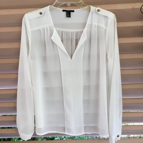 7d32ba3c881  gabys70. 2 years ago. United States. Sheer white flowy long sleeve top ...