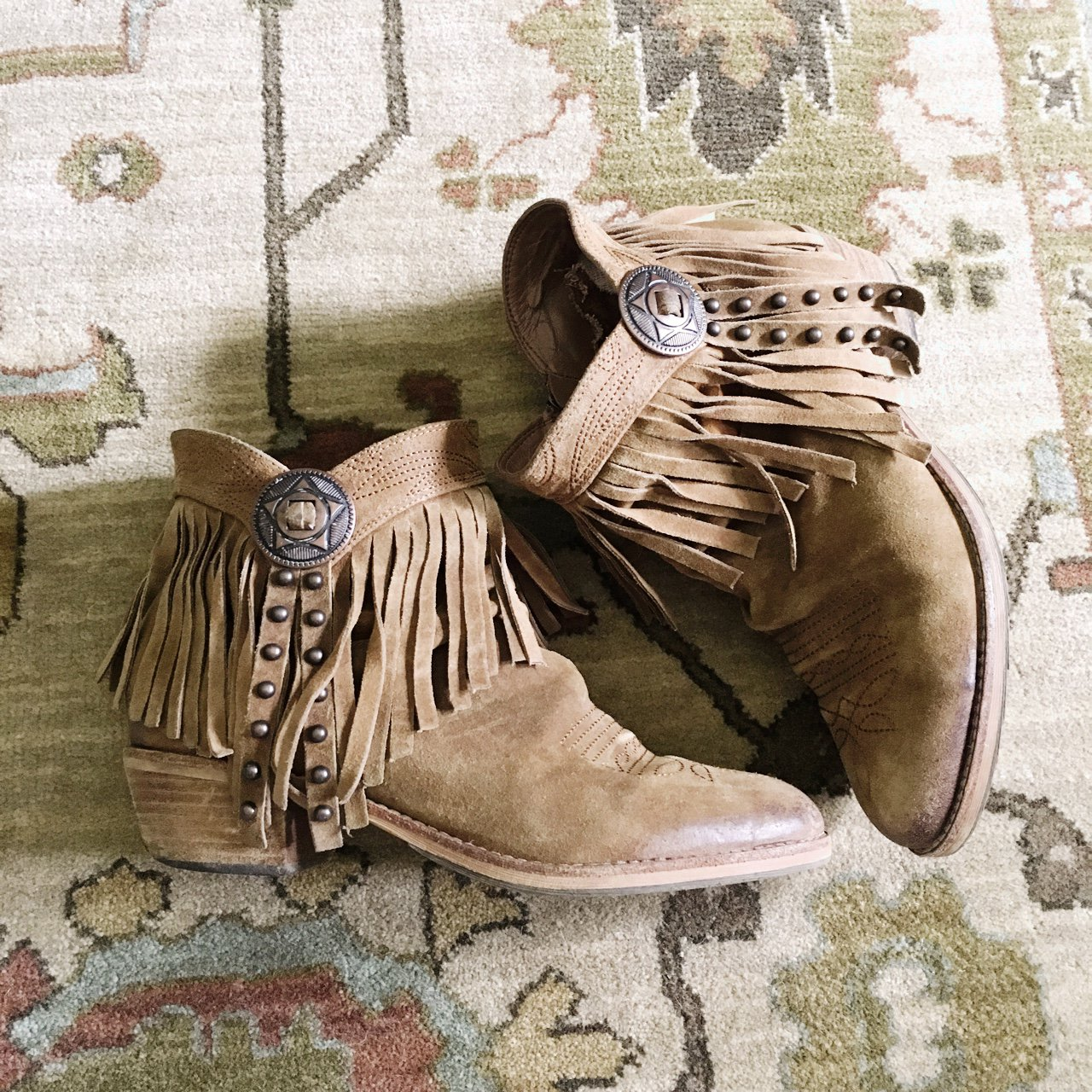 562b7b641 Sam Edelman fringe suede boots. Real suede. Heels are beat a - Depop