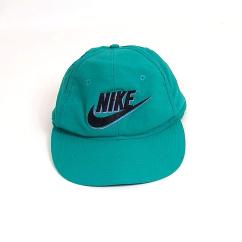 Vintage 90s Nike Snapback cap. Green with a stitched logo on - Depop 3ad1a177d16a